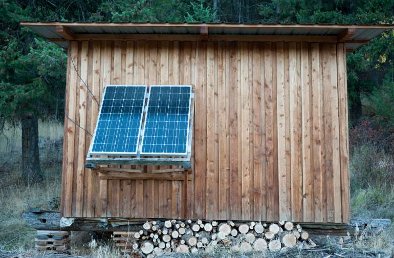 The love shack is handbuilt and solar powered