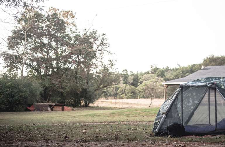 There are multiple spots (the yard is tiered) for you to pitch your tent. We picked one closest to the bathroom and barn.