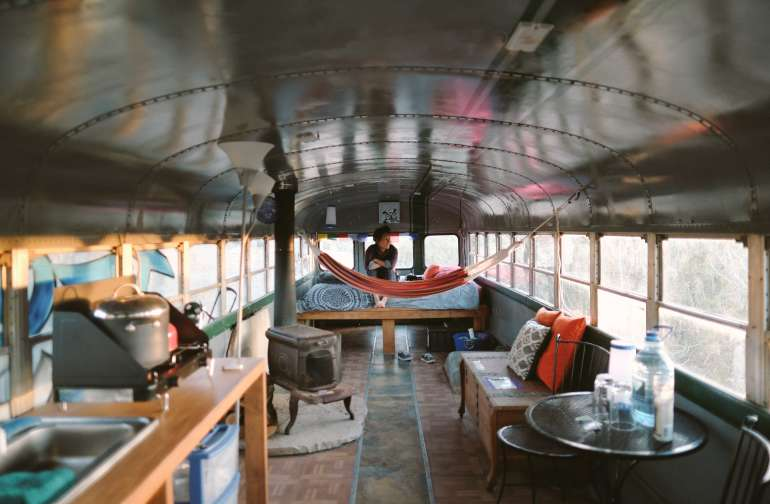 Where we stayed, From Dusk till Dawn. This bus was so spacious! Photo by Erin McGrady.