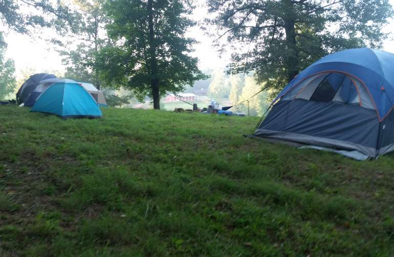 Camping out with our kids in Summer camp.