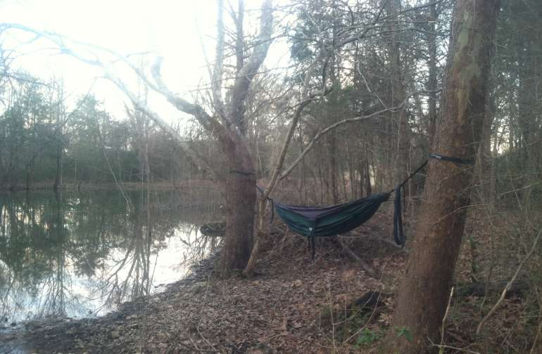 Hammock camping by the pond.