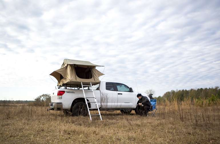 Campsite is on a slight ridge that opens up underneath a big Florida sky.