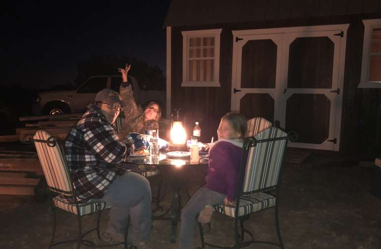 Wife with the grandkids in joying a dinner at the ranch!