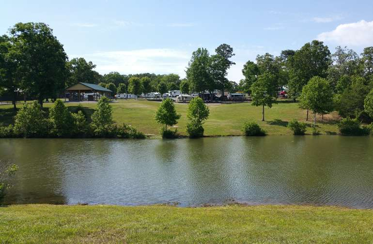 Stocked fishing pond at Mountain Glen RV Park & Campground