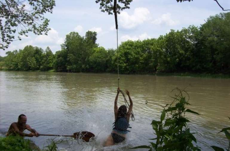 Swimming and rope swings