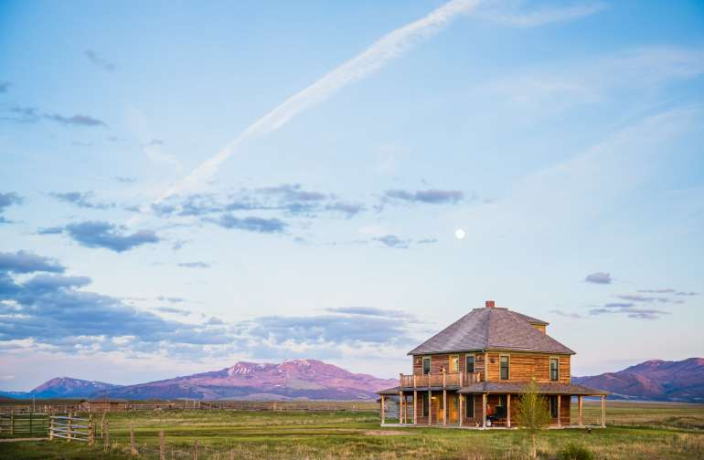Smith House among the sage and tall grass of the Centennial Valley, MT