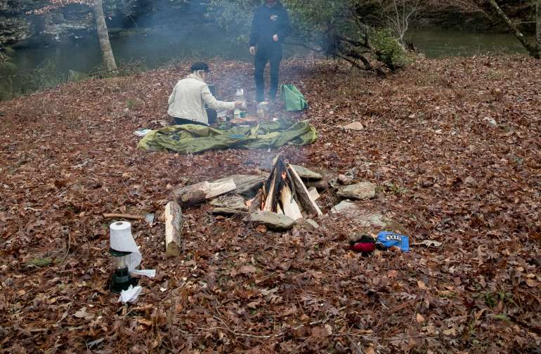 forest people campfire