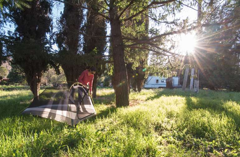 After you set up your tent be sure to explore the property and meet the animals. There are chickens, turkeys, goats, emus, a burro, doves, a llama, cats, and dogs.