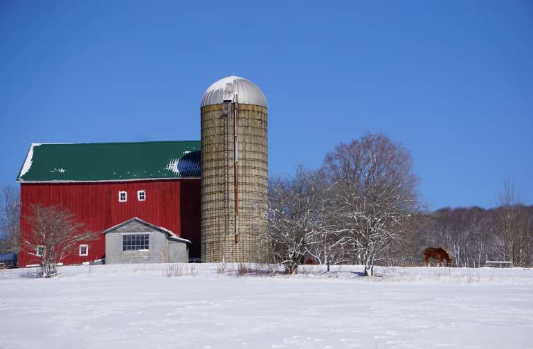 our big red barn in winter