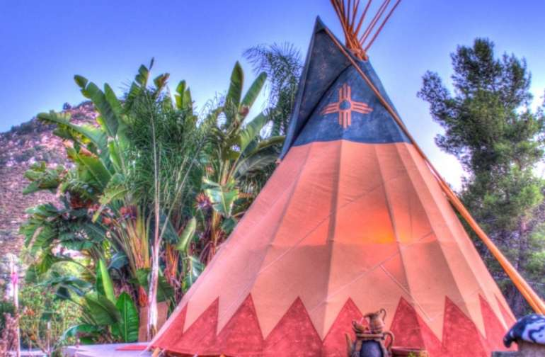 Embellished photo of tipi