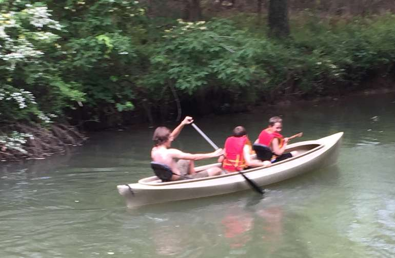 Canoeing is the Creek with Boy Scouts.