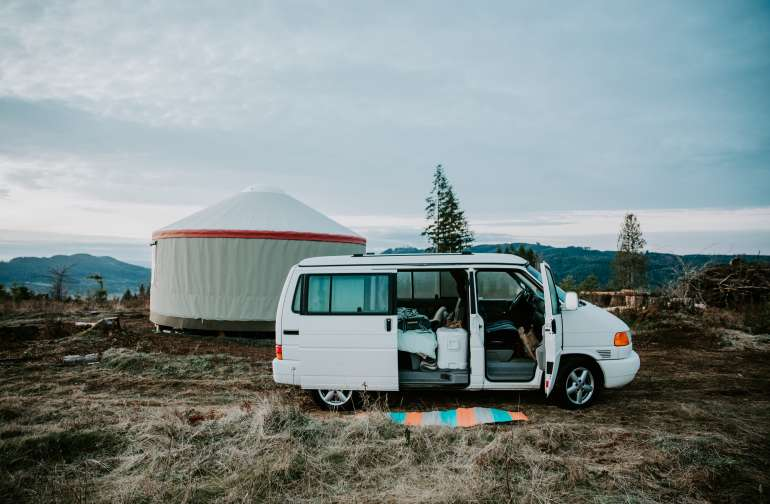My get-up for the weekend. Camper van + Yurt = the most comfortable camping there ever was.
