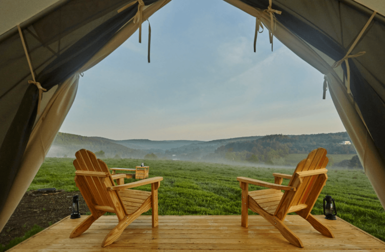 Our platform canvas tents are comfortable and well appointed.