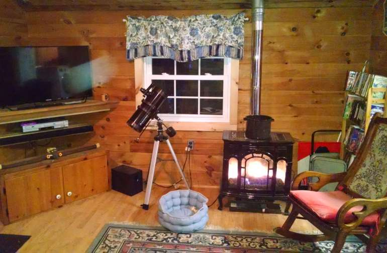 Additional supplies for telescope in cabinet under the TV.