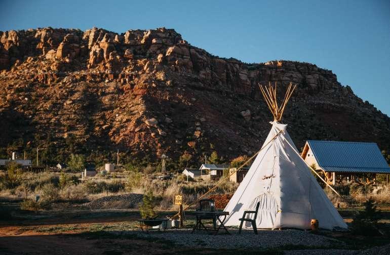 mountain lodging teepee