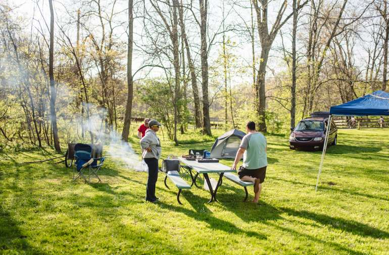 tent people picnic table