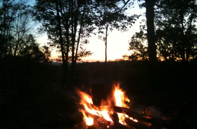 Community fire pit, and sunset view toward Nashville.