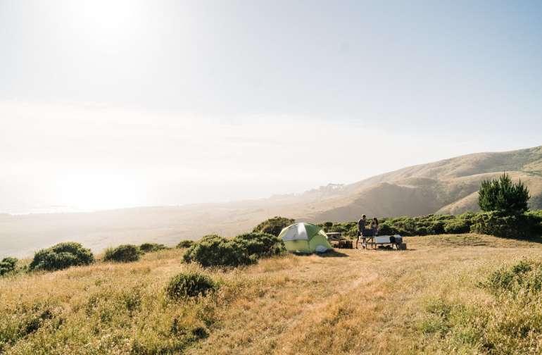 tent mountain sun