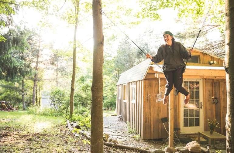 Swinging outside the artist cabin