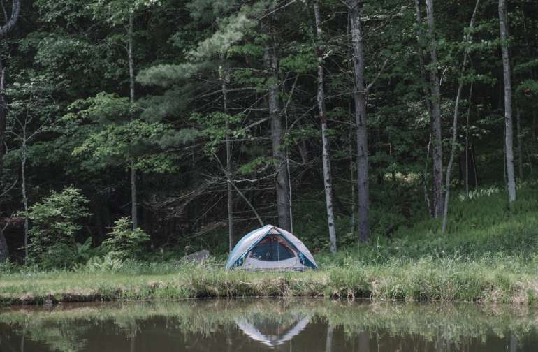 Tent spot on the pond