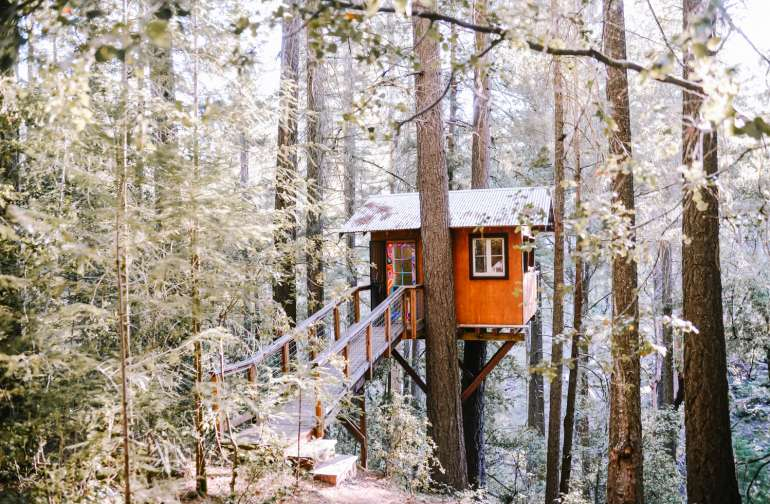 The beautiful treehouse upon arrival