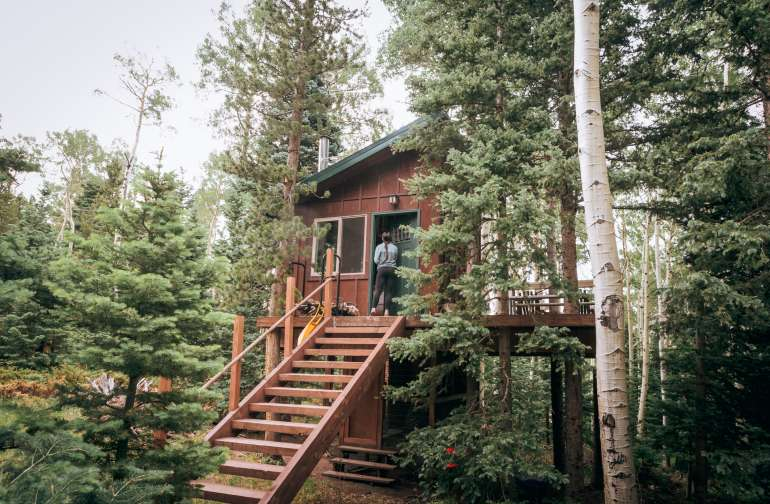 The cutest treehouse you ever did see! The entrance faces the forest for complete privacy