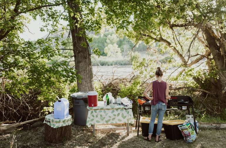 Plenty of space to cook dinner, make coffee, or just chill and listen to the creek.