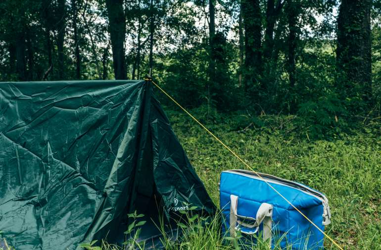 The tent set up is simple primitive camping, with a few different choices around the property.