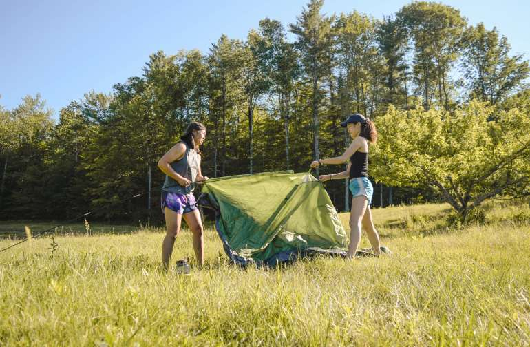 Pitching the tent.