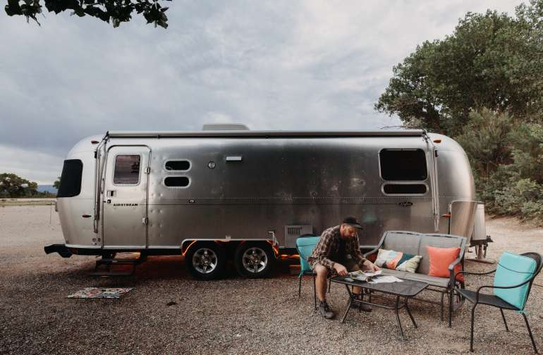 Patio furniture to enjoy outside the Airstream.