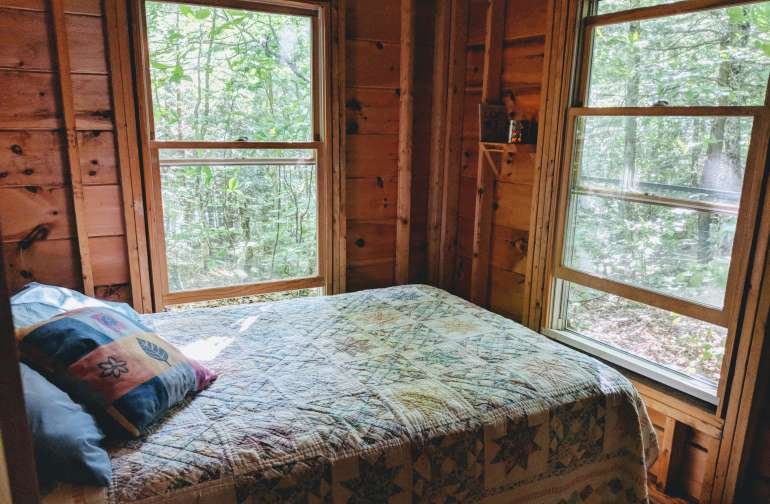 Double bedroom - comfy bed surrounded by forest sights and sounds.
