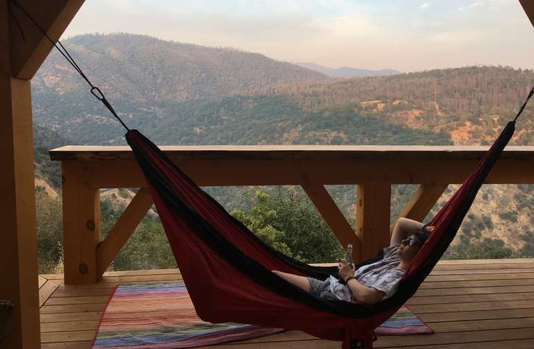 Tied our hammock up overlooking the mountains :)