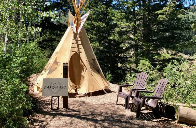 Nestled in the woods this tipi stays fairly cool in the daytime and we have plenty of blankets to stay warm & cosy at night.