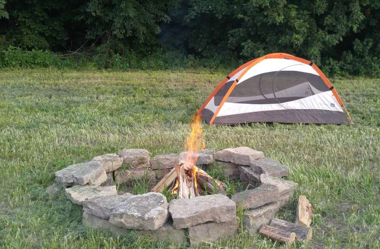 A cozy site, with plenty of room for tents, games, and relaxation!
