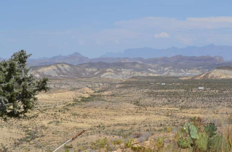 Looking East from the East end of the property ,views of the Chisos mountains and Big Bend National Park