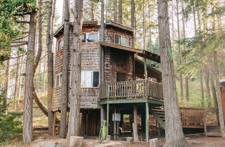 Stairs both into the treehouse and up to the bedroom, but oh so worth it!