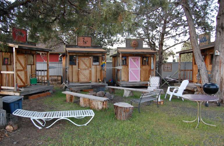 Fire pit and cabins