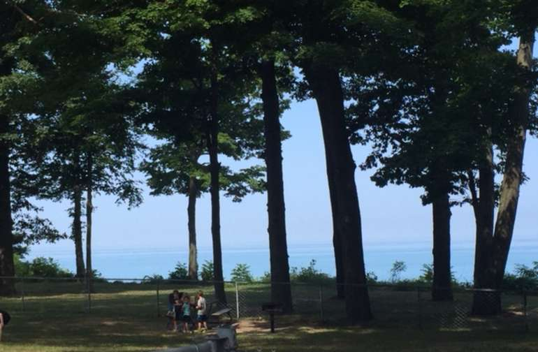 View of Lake Michigan from Hagar Shores Park