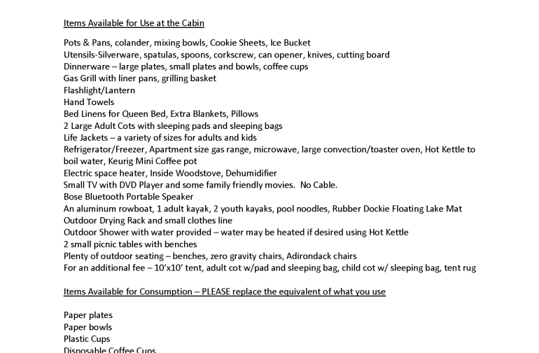 A list of items that you WON'T have to bring  :)