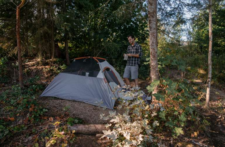 "Also, to get a better idea of the space. This is a ""3 person"" tent. The red tent in my other photos is a 2 person backpacking tent."