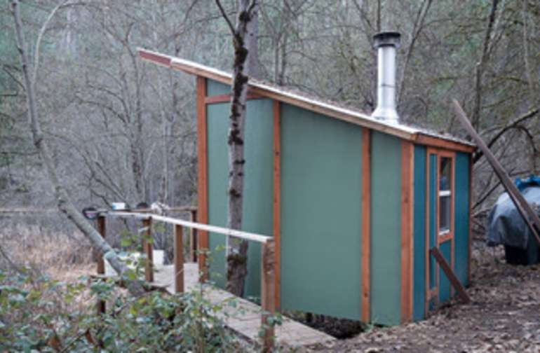 A sideview of the cabin you will see as you walk up.