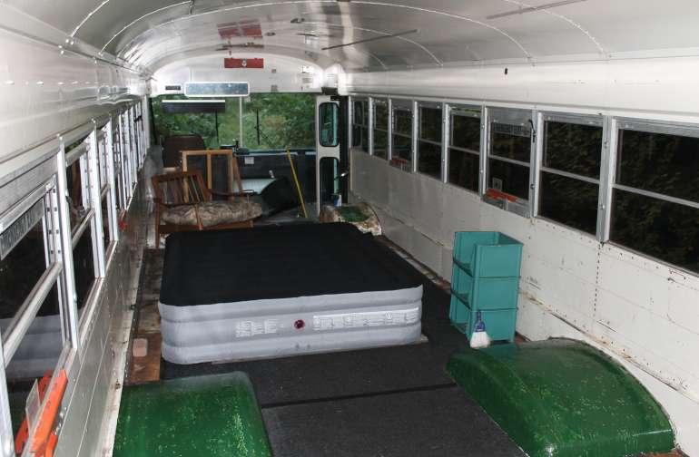 the blue bus interior