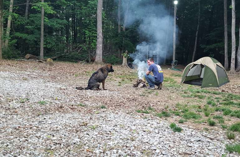 Enjoy camping with your furry friend.