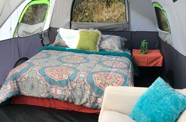 A peek inside the HUGE Glamping Family Tent.