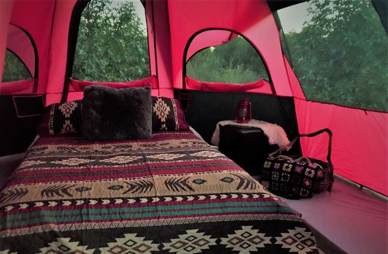 A peek inside the Aztec Tipi Dome Tent