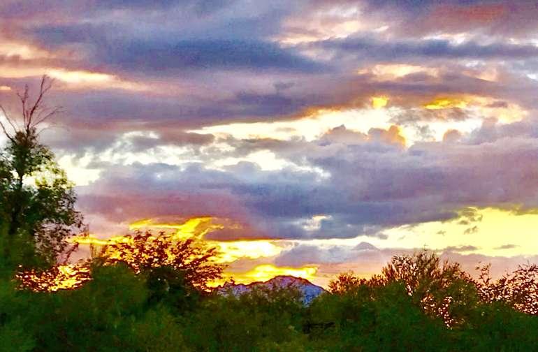 Beautiful Sonoran Desert Sunsets over Kitt Peak Mountains