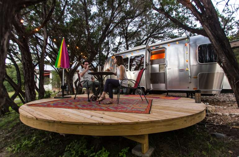 Enjoying dinner on the private platform deck outside the airstream.