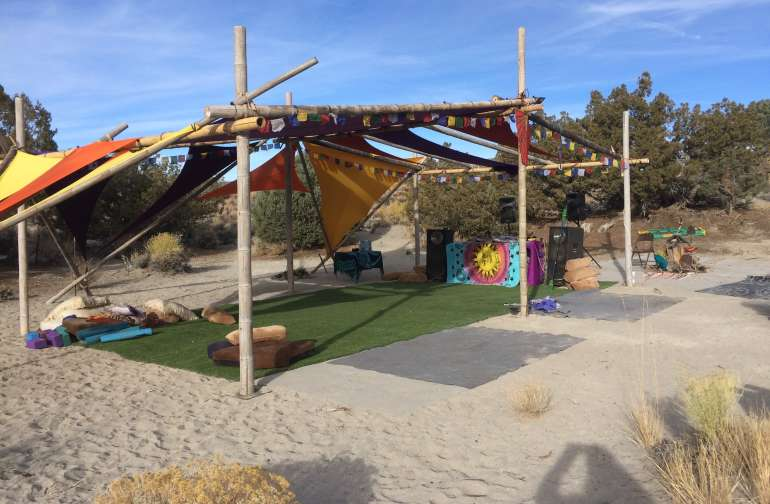 Ask us us about installing our custom Bamboo shade structure over our astro turf.
