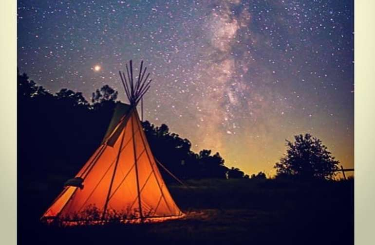 Milky Way over the teepee at 1 am