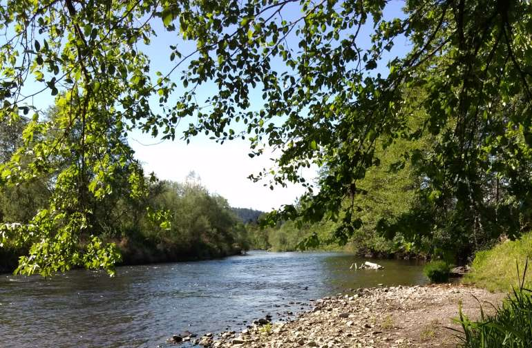 The property has private beach access and is secluded. There is full hookups with water and  electricity over looking the river and is a prime spot to take it all in.